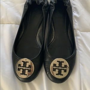 Black with silver Tory Burch flats